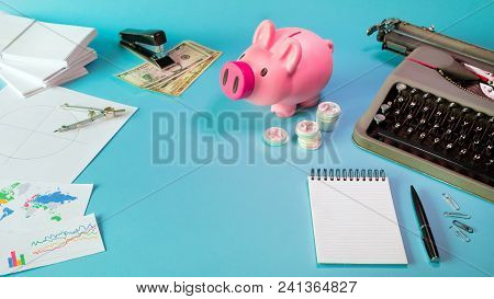 High Angle Top View Flay Lay Business Finance And Investing Concept Layout