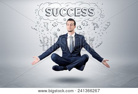 Businessman sitting in yoga position and meditates with doodle concept