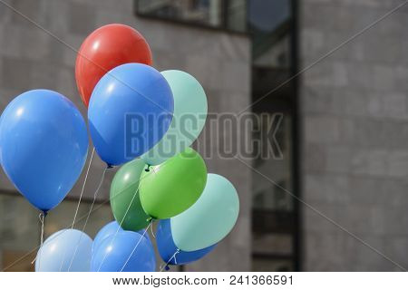 Multicolored Balloons Filled With Gas Helium Tend To Fly Up