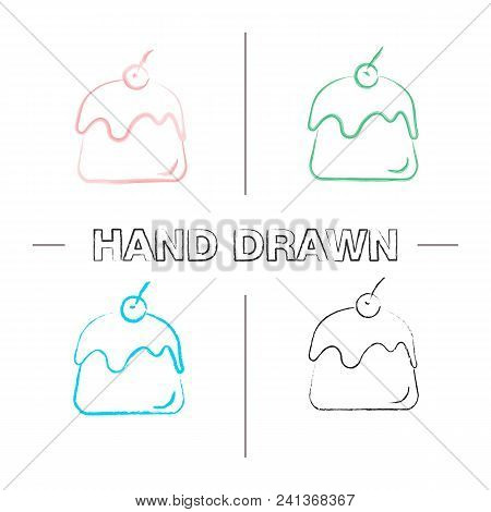 Pudding Hand Drawn Icons Set. Panna Cotta. Color Brush Stroke. Isolated Vector Sketchy Illustrations