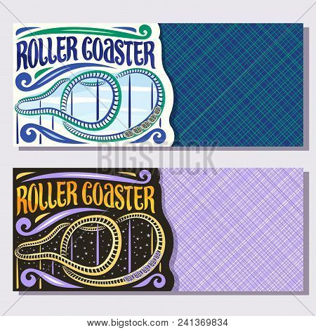 Vector Banners For Roller Coaster With Copy Space, Cartoon Train Go Down In Loop Of Twist Rollercoas
