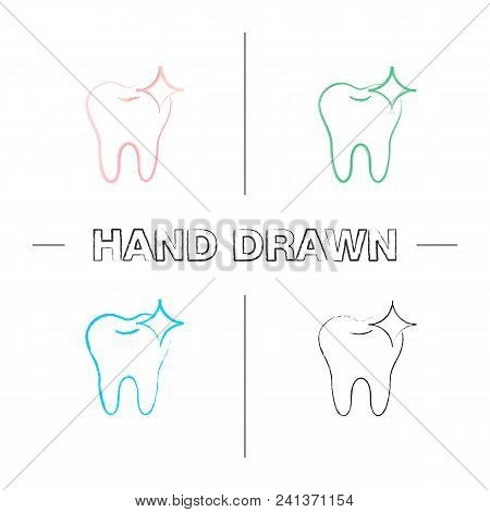 Healthy Shining Tooth Hand Drawn Icons Set. Teeth Whitening. Color Brush Stroke. Isolated Vector Ske