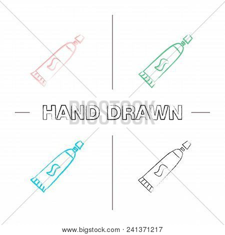 Toothpaste Hand Drawn Icons Set. Dentifrice. Color Brush Stroke. Isolated Vector Sketchy Illustratio