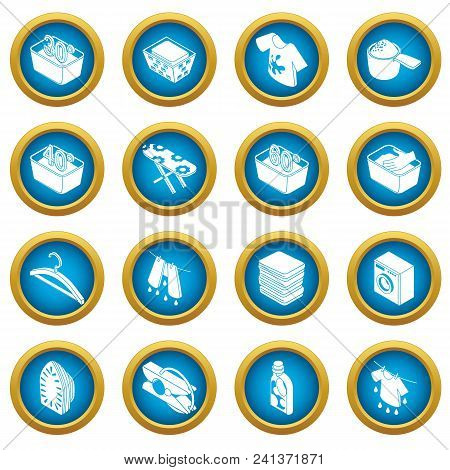 Laundry Icons Set. Simple Isometric Illustration Of 16 Laundry Vector Icons For Web