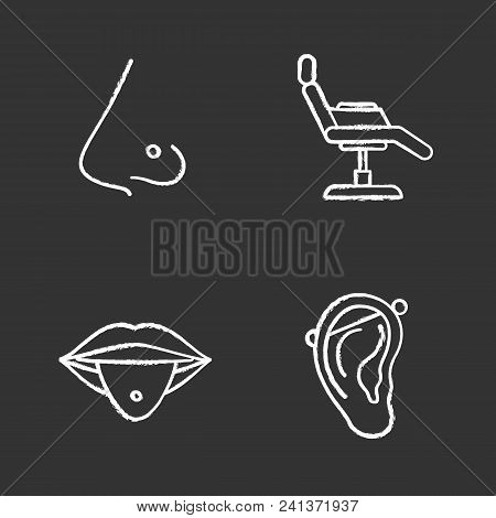 Tattoo Studio Chalk Icons Set. Piercing Service. Pierced Nose And Tongue, Tattoo Chair, Industrial P