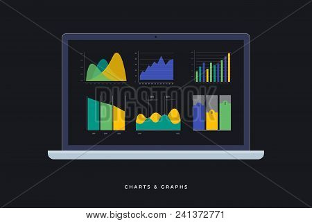 Laptop Image With Infographic Elements On Screen. Timeline Infographics, Design Vector And Diagrams.