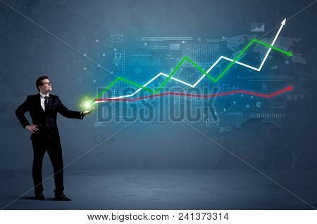 Caucasian businessman holding a stock-market, business and finance sign composition