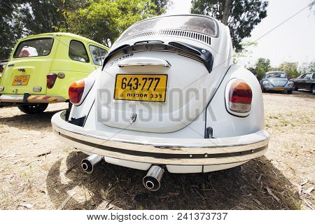 Petah Tiqwa, Israel - May 14, 2016: Rear Part Of A Volkswagen Beetle In Petah Tiqwa, Israel.