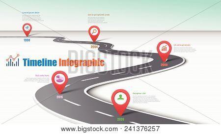 Business Road Map Timeline Infographic. Vector Illustration