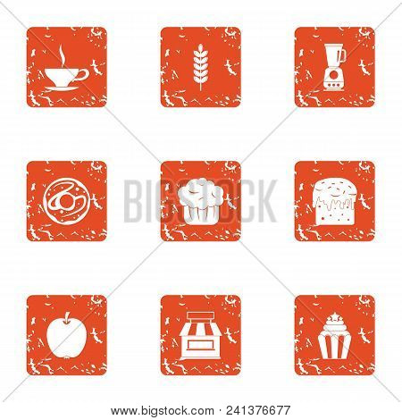 Pure Coffee Icons Set. Grunge Set Of 9 Pure Coffee Vector Icons For Web Isolated On White Background