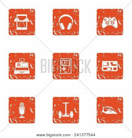 Speak Icons Set. Grunge Set Of 9 Speak Vector Icons For Web Isolated On White Background