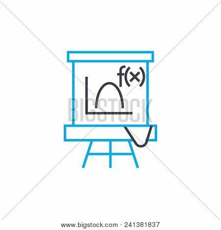 Algebra Lesson Line Icon, Vector Illustration. Algebra Lesson Linear Concept Sign.