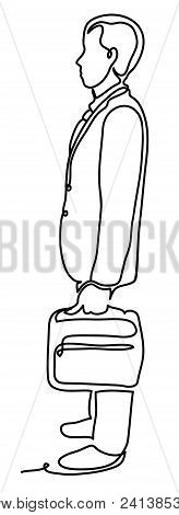 Handsome Businessman Standing Sideways With The Case. Business Concept Illustration. Continuous Line