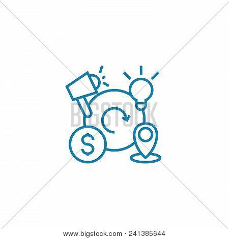 Business Cycles Line Icon, Vector Illustration. Business Cycles Linear Concept Sign.
