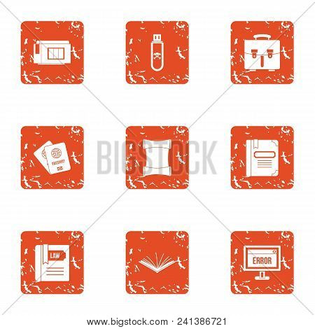 Bug Fixes Icons Set. Grunge Set Of 9 Bug Fixes Vector Icons For Web Isolated On White Background