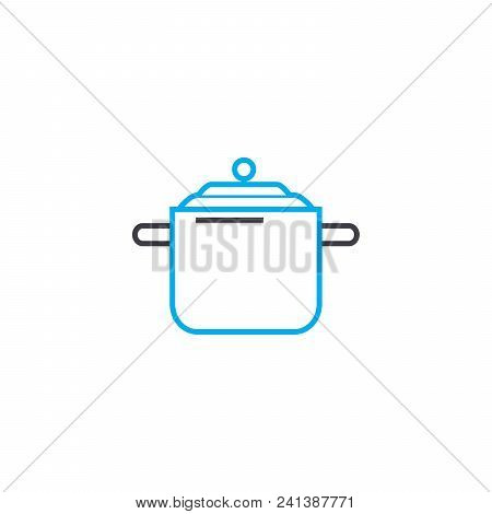 Casserole For Soup Line Icon, Vector Illustration. Casserole For Soup Linear Concept Sign.