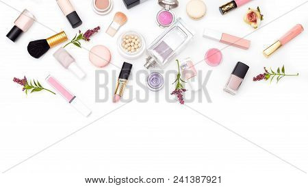 Set Of Decorative Cosmetics Of Pink Color On A White Background. Copy Space