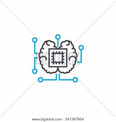 Central Processor Line Icon, Vector Illustration. Central Processor Linear Concept Sign.