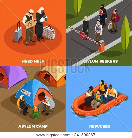 Stateless Refugees Asylum Icons Isometric 2x2 Design Concept With Human Characters Of Displaced Pers