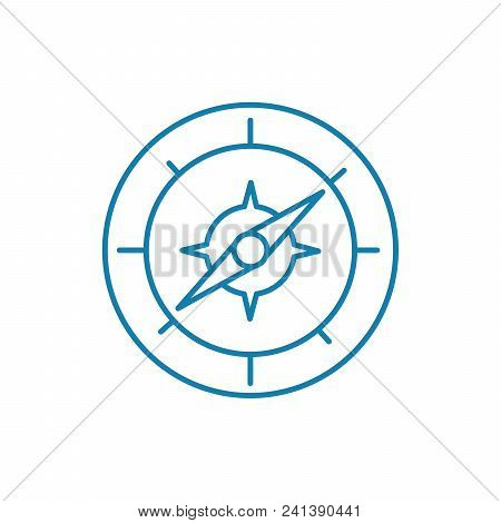 Compass Line Icon, Vector Illustration. Compass Linear Concept Sign.