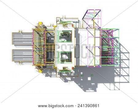 3D Rendering Of A Model Of A Building Construction Structure Made Of Metal Structures. 3D Engineerin
