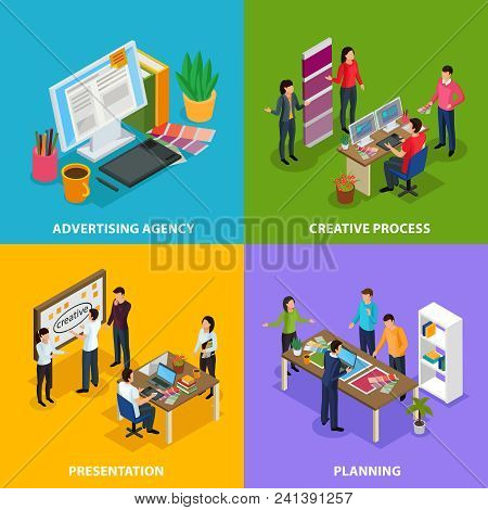 Advertising Agency Isometric Design Concept With Work Place Of Designer, Creative Process, Presentat