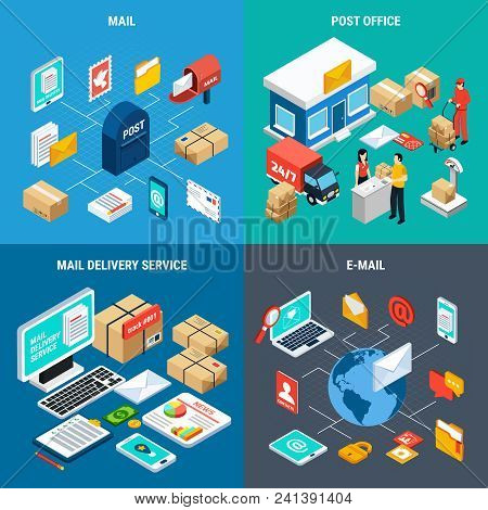 Four Squares Mail Isometric Icon Set With Mail Post Office Mail Delivery Service And Email Descripti