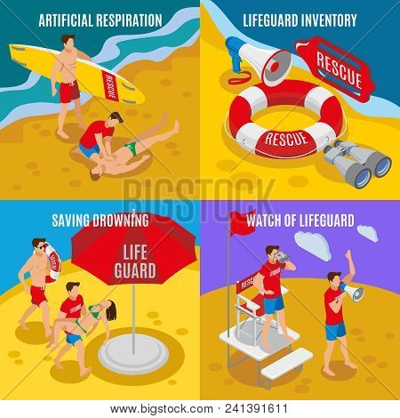 Beach Lifeguards 2x2 Design Concept  Set Of Artificial Respiration Lifeguard Inventory Saving Drowni