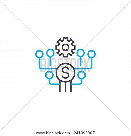 Cost Saving Line Icon, Vector Illustration. Cost Saving Linear Concept Sign.