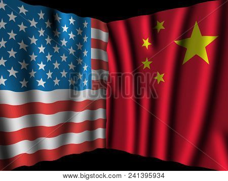 Usa And China. Waving Perspective Flags Of The United States Of America And China Together On Dramat