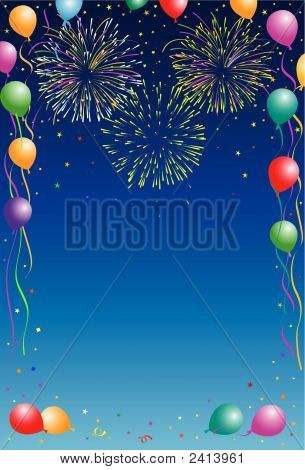 Fireworks Balloons and confetti on blue background poster