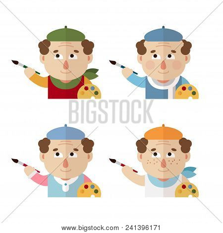 Pictures Of An Artist In A Beret With A Palette And Brush At Different Times Of The Year: Winter, Sp