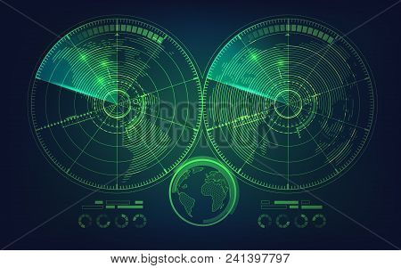 Concept Of Global Network Or Communication World, Graphic Of World Map Combined With Digital Radar I