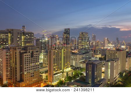 Night Cityscape View Of Bangkok Modern Office Business Building In Business Zone At Bangkok,thailand