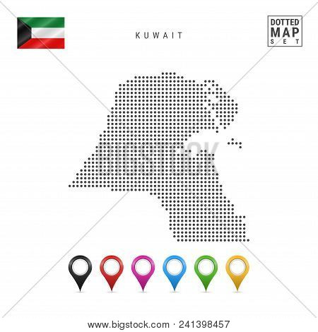 Dotted Map Of Kuwait. Simple Silhouette Of Kuwait. The National Flag Of Kuwait. Set Of Multicolored