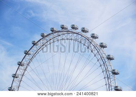 London, United Kingdom - May 6: Detail Of London Eye On May 6, 2011 In London, Uk. London Eye Is The