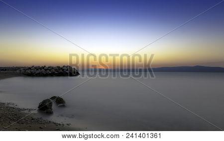 Croatian sunset in Podgora, Makarska Riviera, Dalmatia, Croatia