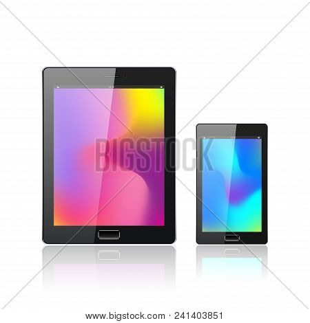 Modern Digital Tablet Pc With Mobile Smartphone Isolated On The White. Abstract Fluid 3d Shapes Vect