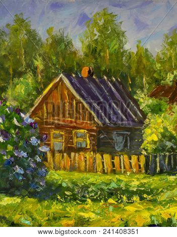 Summer Rural Landscape Painting With Oil. Fragment Of Painting. Sunny Rural Landscape, Sunny Green T