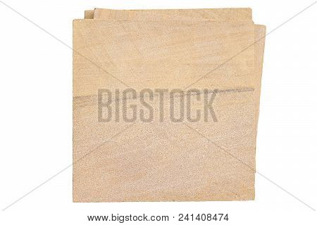 Pile Of Sandstone Bricks Isolated On White Background With Clipping Path