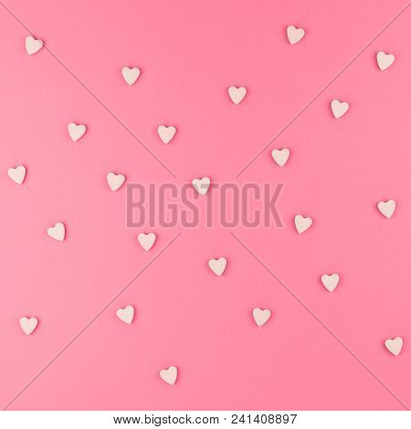 Valentines Day Pattern Background Flat Lay Top View Of Pink Heart Shaped Candies Scattered On Pink S