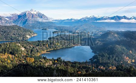 Gorgeous View From The Top Of Cerro Companario In San Carlos De Bariloche, Argentina's Patagonia Reg