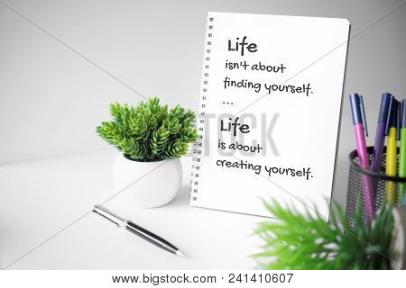 Motivational And Inspirational Quote. Wisdom Quote About Life. Notebook With Potted Plant.