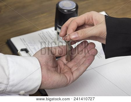 Buying An Apartment, Contract, Hands, Apartment Keys, Seal