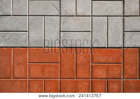 Pavement. Sidewalk Tile Background. Pavement Tile. Top View. Closeup. Footpath. Two Tone Sidewalk Ti
