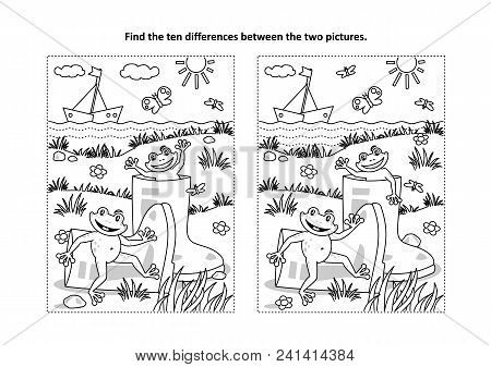 Summer Joy Themed Find The Ten Differences Picture Puzzle And Coloring Page With Gumboots And Happy