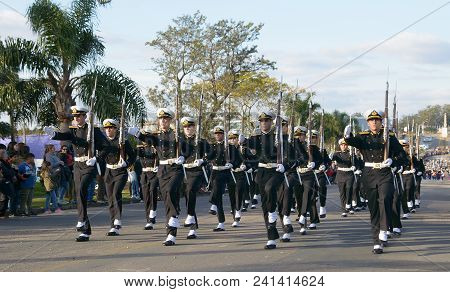 Canelones, Uruguay - May 18, 2018: Naval Battalion Of Uruguay, 207 Anniversary Of Batalla De Las Pie