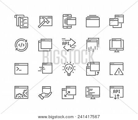Simple Set Of Application Related Vector Line Icons. Contains Such Icons As Build, Api, Terminal, Co