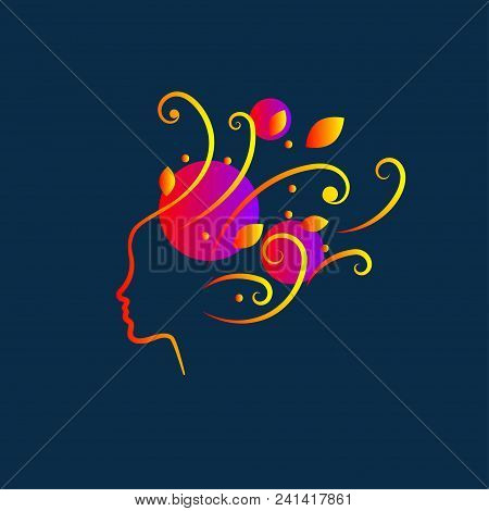 Female Profile With Flying Curls, Icon Of Imagination, Inspiration, Creativity, Beauty Salon, Hairdr