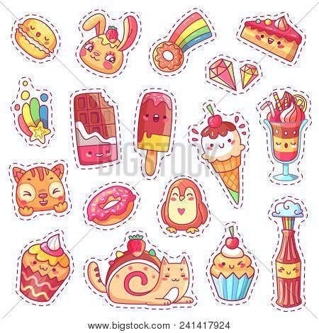Patches Of Sweet Strawberry Kawaii Pink Dessert, Cherry Ice Cream, Donut, Cupcake, Positive Happy An